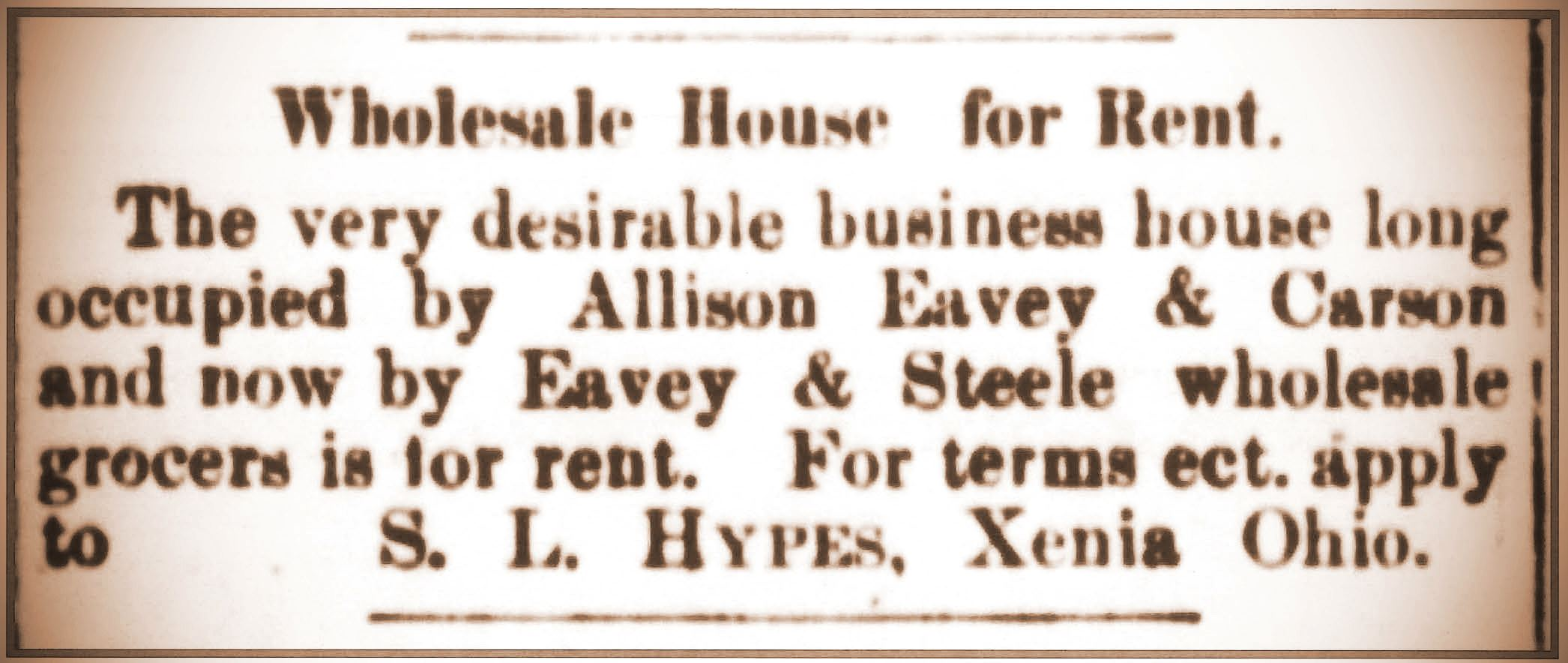 Advertisement listing Eavey & Co. building for rent in Xenia Daily Gazette on December 12, 1882