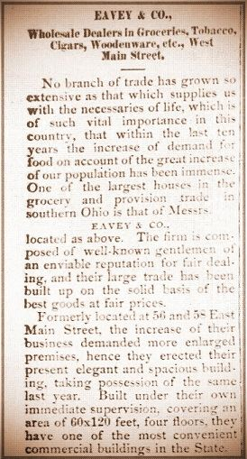 Advertisement for Eavey & Co. in Xenia Daily Gazette on September 29, 1883 (part 1)