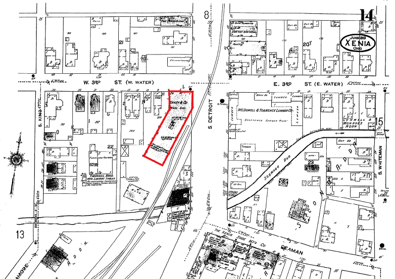 1919 Sanborn Map of Xenia, Ohio (Eavey Building outlined in red)
