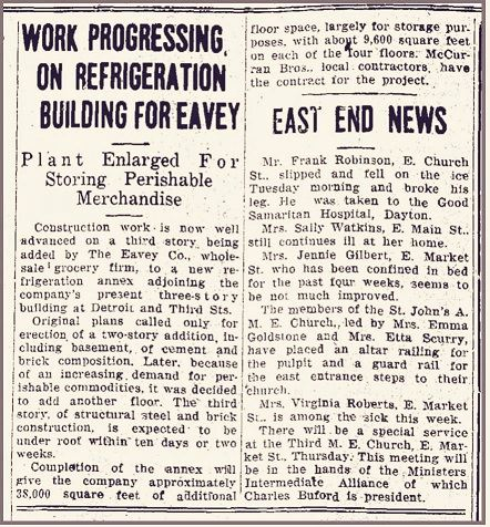 January 31, 1935 Xenia Daily Gazette article on Eavey building expansion