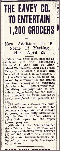 April 12, 1935 Xenia Daily Gazette article on hosting IGA meeting
