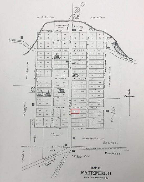 1896 Atlas of Fairfield with Ransbottom property outlined in red