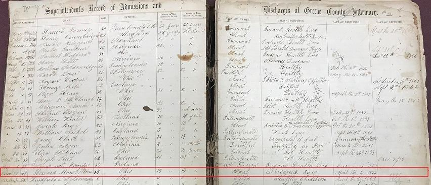 Excerpt from Admission/Discharge Records for Greene County Infirmary