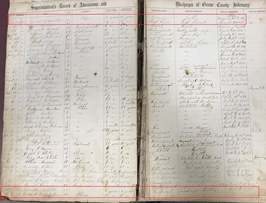 Excerpt from Admission/Discharge Records for Greene County Infirmary from 1862