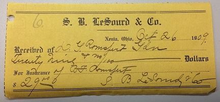 Fig 1. Receipt from S. B. LeSourd & Co., 1909