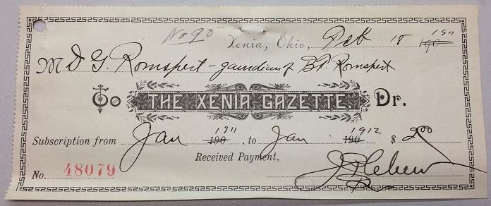 Fig 3. Receipt for a year's subscription to the Xenia Gazette, 1911