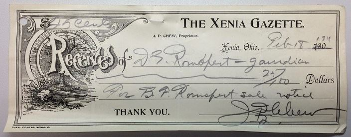Fig 4. Receipt for a sale notice in the Xenia Gazette, 1911