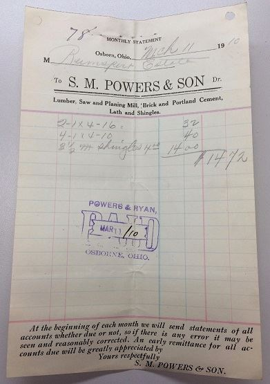 Fig 6. A receipt from S.M. Powers & Son in Osborn, Ohio, 1910.