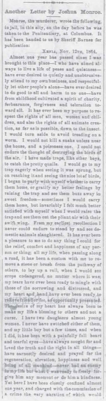 Part 1 of Article from the Xenia Sentinel dated November 25, 1864 (JPG)