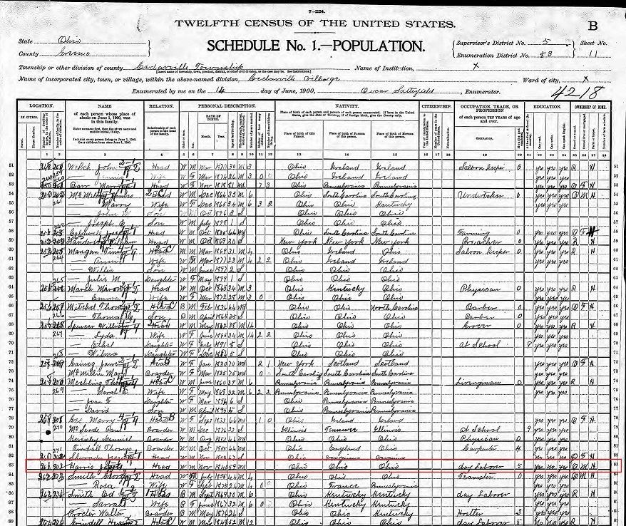 Fig 5. 1900 U.S. Census with Jacob Harris outlined in red (JPG)
