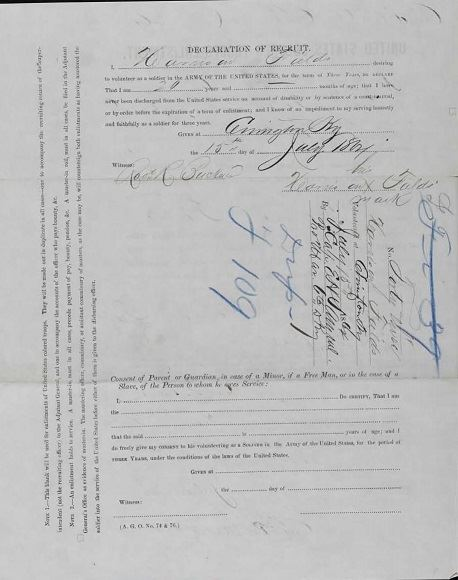 Fig 2. United States Colored Troops Enlistment form for Harrison Fields, aka Harrison Phillips (JPG)