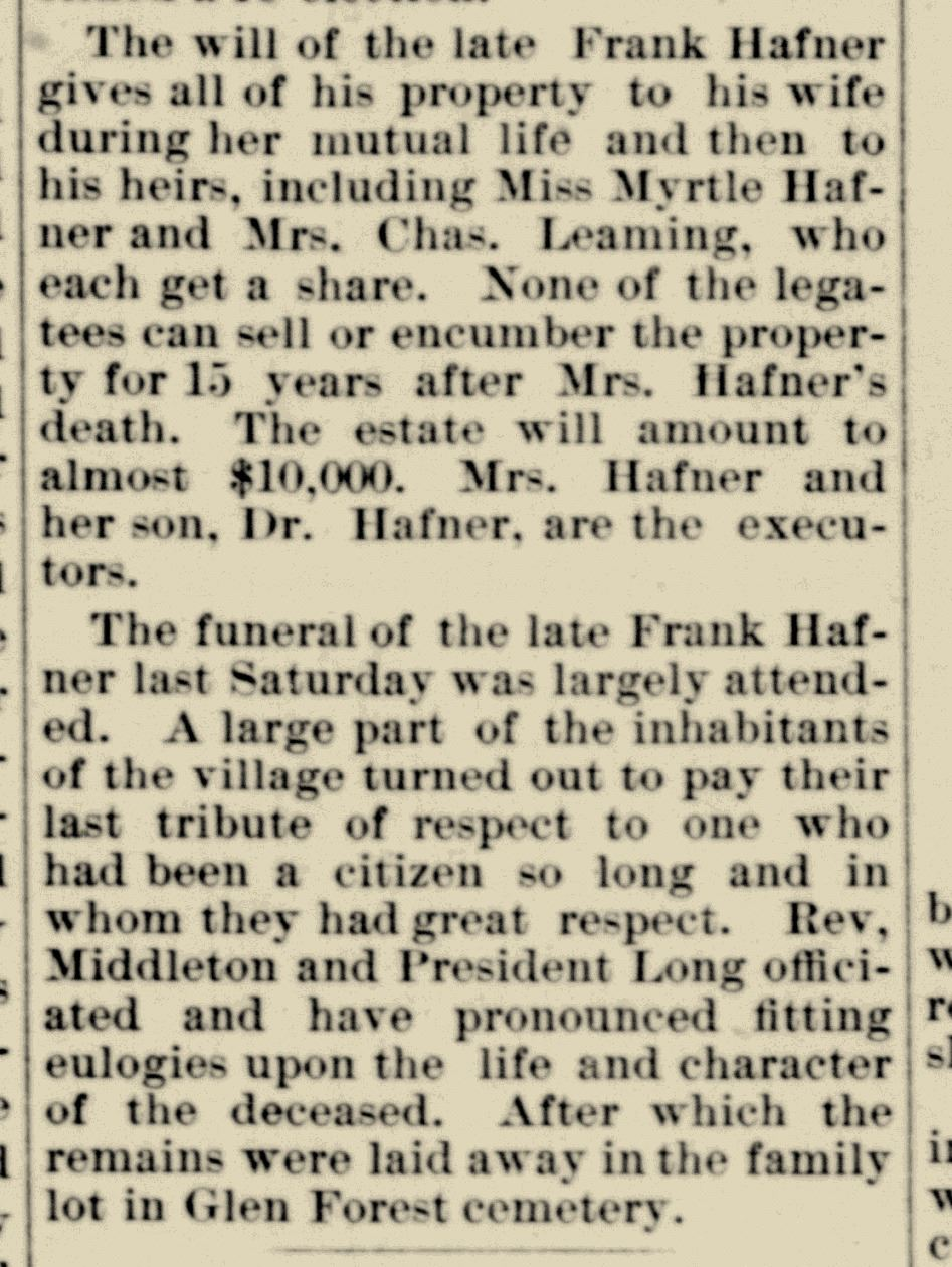 Notice of death of Francis Hafner in The Xenia Gazette, dated January 10, 1895 (JPG)
