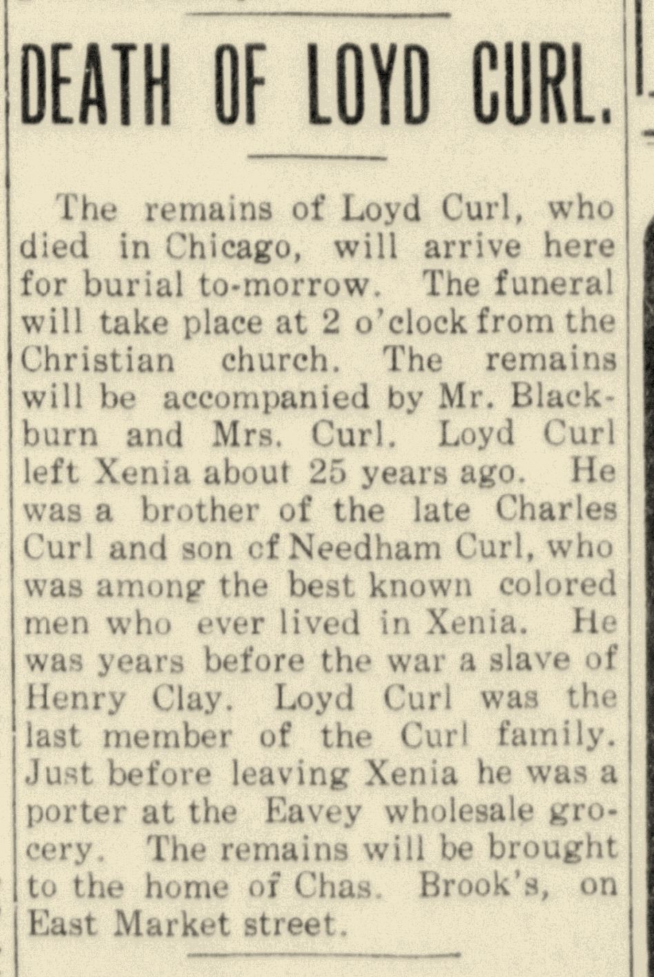Fig 1. Notice of Death of Loyd H. Curl in Xenia Daily Gazette, dated September 4, 1911 (JPG)