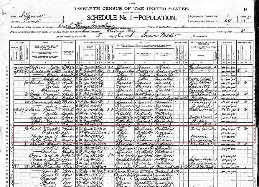 Fig 7. 1900 U.S. Census with Curl family outlined in red (JPG)