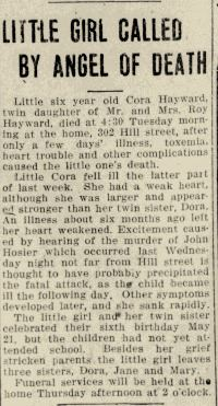Fig 4. Notice of death of Cora Hayward in Xenia Daily Gazette, dated July 3, 1917 (JPG)