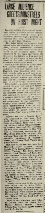 Fig 7. Miscellaneous articles in Xenia Daily Gazette about the American Legion Minstrels (JPG)
