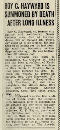 Fig 8. Notice of Death of Roy Hayward in Xenia Daily Gazette, dated February 12, 1926 (JPG)