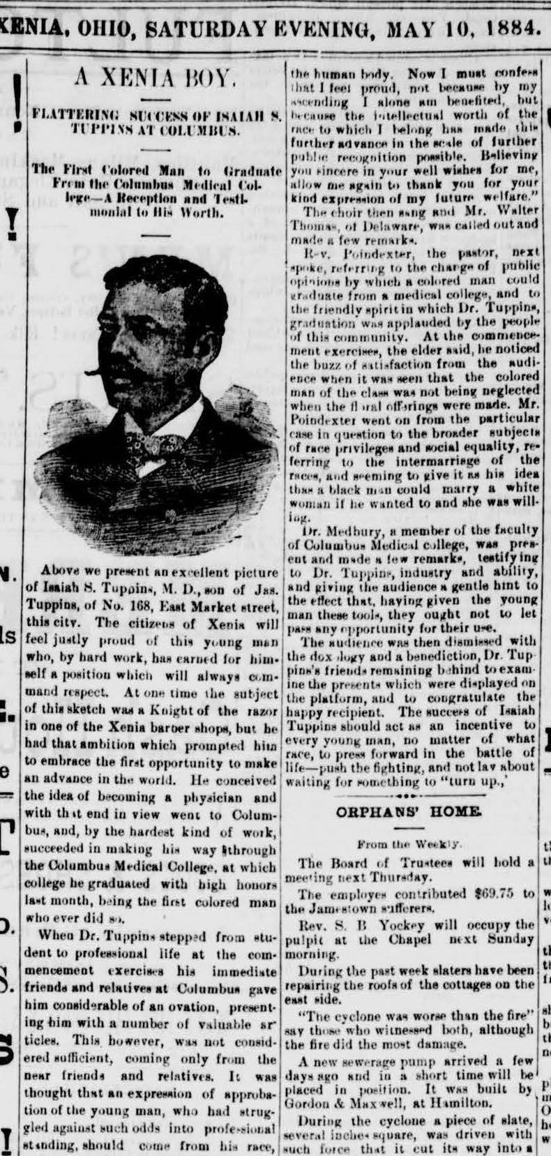 Fig 4. Article from Xenia Daily Gazette, dated May 10, 1884, of Dr. Tuppins' graduation (JPG)
