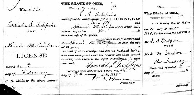 Fig 6. Marriage Record of Isaiah Tuppins and Nancy Simpson (JPG)