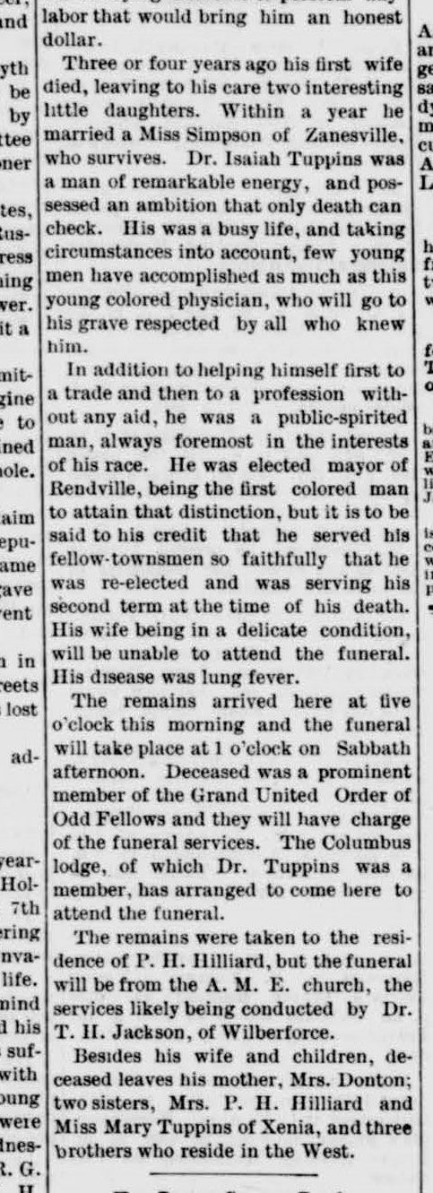 Fig 8. Notice of Death of Isaiah S. Tuppins in Xenia Daily Gazette, dated January 12, 1889 (JPG)