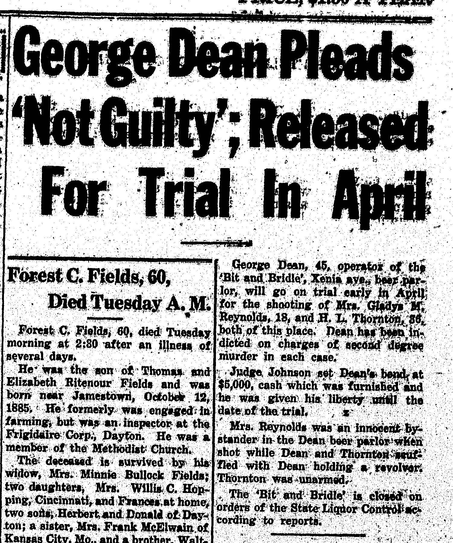 Fig 5. Article from The Cedarville Herald, dated March 22, 1946 (JPG)